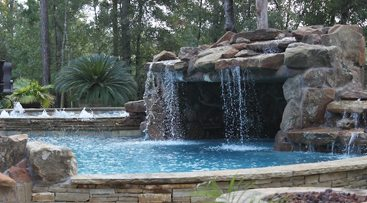 custom waterfall features for the woodlands spring and conroe pools