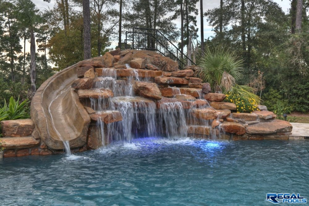 Waterfalls | Regal Pools | The Woodlands TX Swimming Pool Designs With Slides