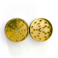 "Gold Two Piece Shredding Type Grinder With a 2.5"" Diameter"