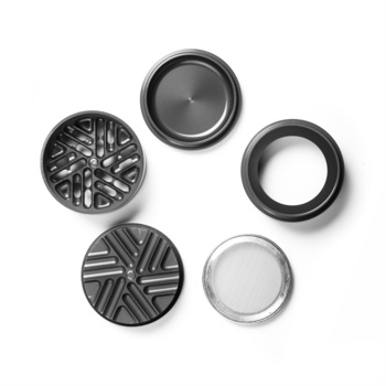"Gray 4-Stage Toothless Grinder 2.5"" Diameter"