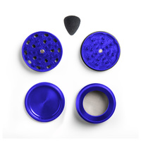 "Blue Four Piece Shredding Type Grinder With a 2.1"" Diameter"