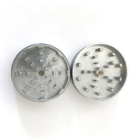"Silver Two Piece Shredding Type Grinder With a 2.5"" Diameter"