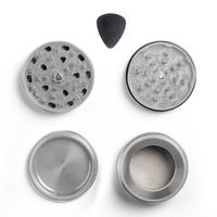 "Silver Four Piece Shredding Type Grinder With a 2.5"" Diameter"