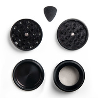 "Black Four Piece Shredding Type Grinder With a 2.5"" Diameter"
