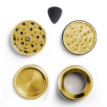 "Gold Four Piece Shredding Type Grinder With a 2.5"" Diameter"