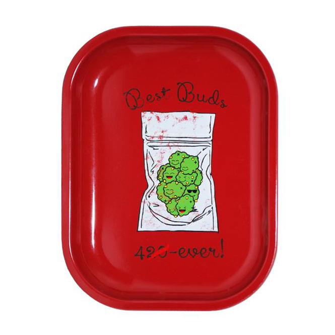 Best Buds 4 Ever Cute Small Metal Rolling Tray