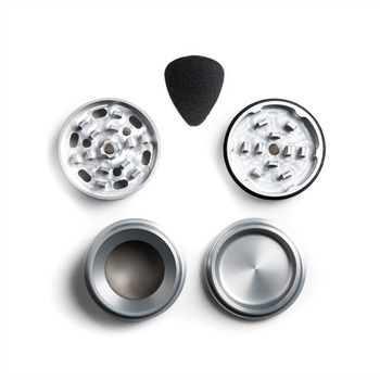 "Silver Four Piece Shredding Type Grinder With a 1.5"" Diameter"
