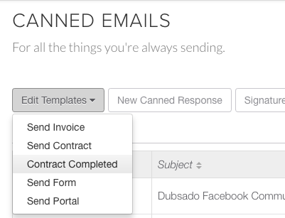 Canned Emails & Deleting Emails | Dubsado Release Notes