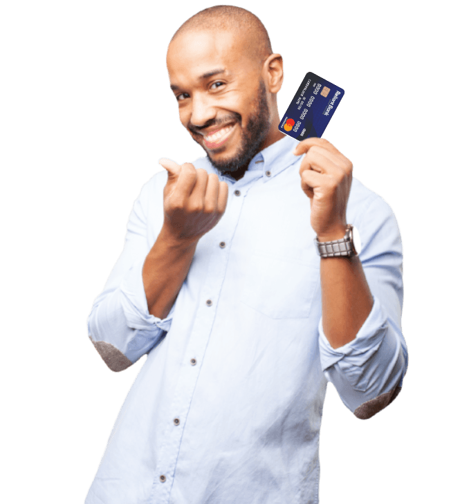 Man holding a Reliant Bank debit card
