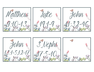 Sabbath service scripture cards