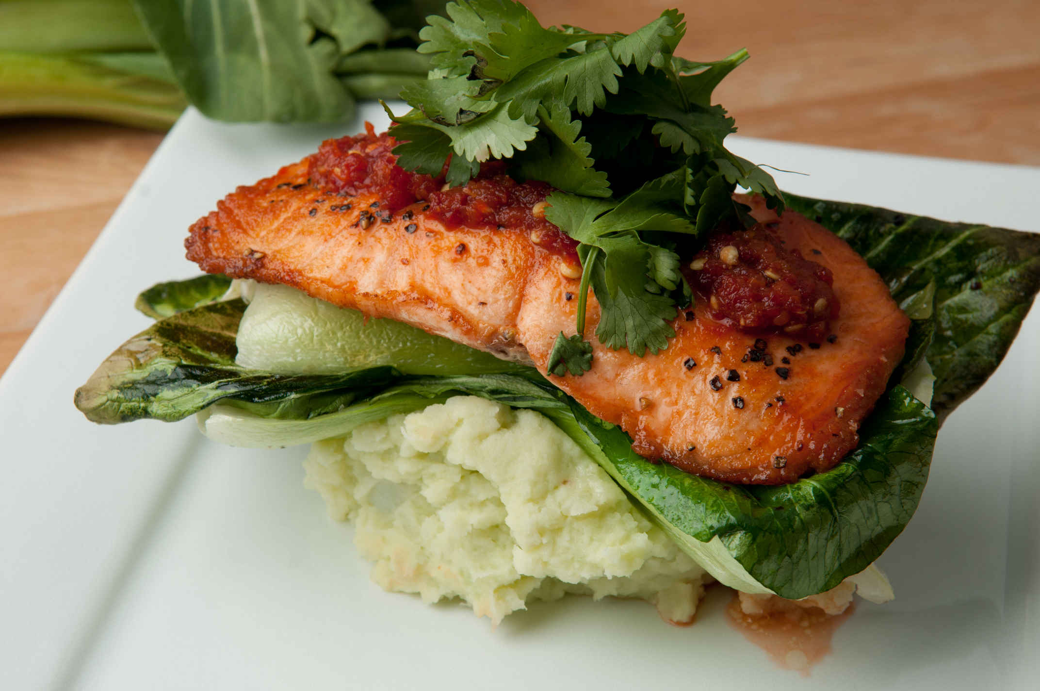 Sambal salmon plated