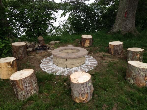 Fire Pit w/tree stump seats (With images) | Fire pit seating, Fire ...
