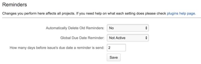 Issue Reminders Plugin Settings