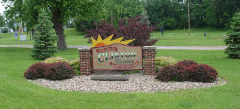 Welcome sign for Clinton Illinois