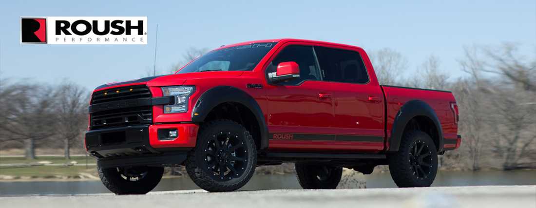 brand new roush ford f150 parked out front of our dealership