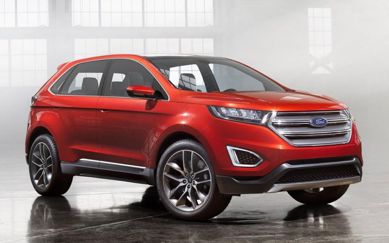 Red 4-door Ford Edge SUV at Angela Krause Ford Lincoln
