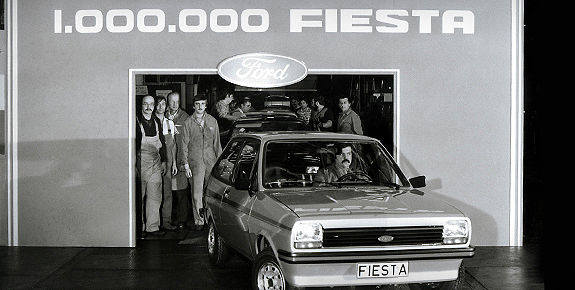 classic ford fiesta coming out of the production line