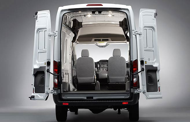 back doors open on a Ford transit cargo van
