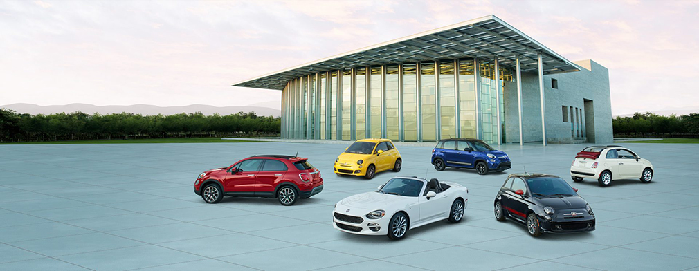 complete Fiat lineup in multiple colors