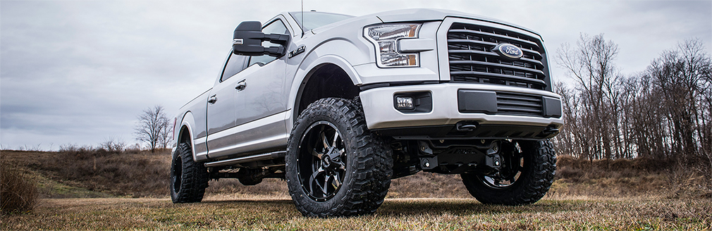 Lifted gray F-series truck in Jacksonville,  Florida.
