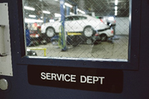 inside the car repair shop at Eide Chrysler