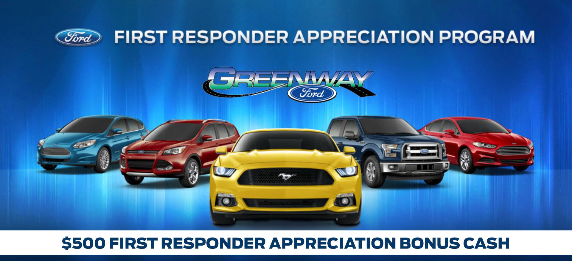 $500 First responder car program from Greenway Ford in Orlando FL
