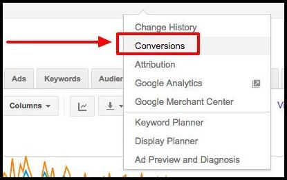 Image of conversion tab in Google AdWords.