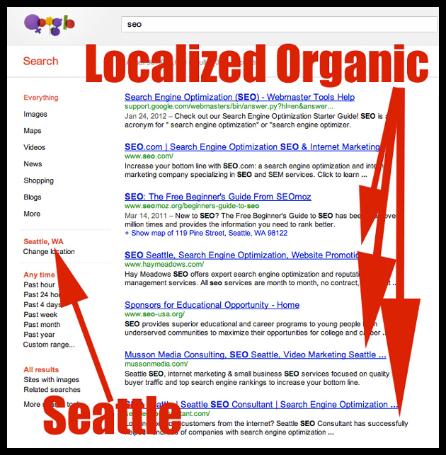 Example of localized search results occurring on broad search terms.