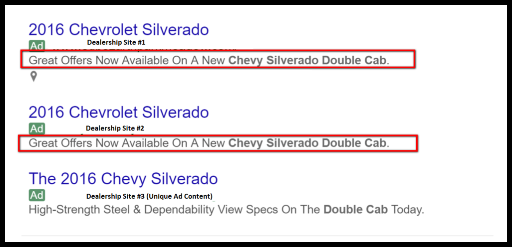 Example of duplicate PPC ad copy for competing dealerships in same area.