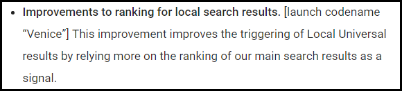 The first bullet point on the official Google Search blog regarding the Venice update.