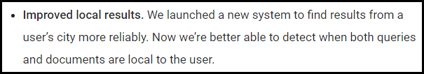 The second bullet point on the official Google Search blog regarding the Venice algorithm update.