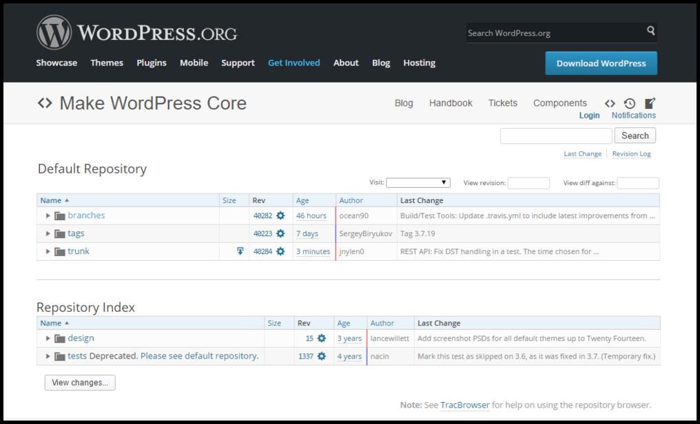 WordPress source code download page screenshot.