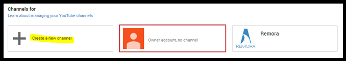 Screen cap of the create a new channel button.