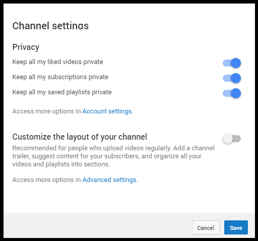 Channel settings for your dealership's YouTube channel.