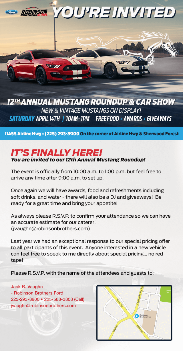 Mustang Round Up And Car Show Robinson Brothers Ford - Car show giveaways