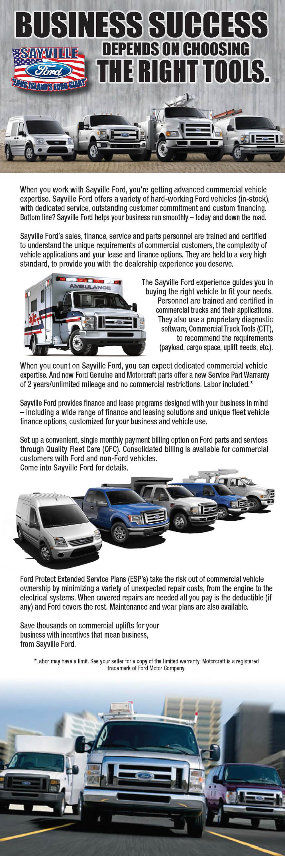 infographic showcasing the commercial vehicle options at Sayville Ford