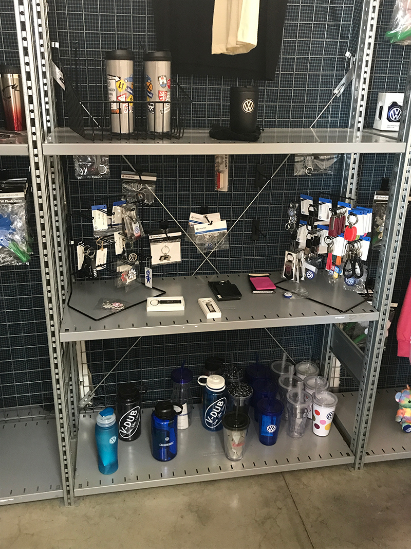 mugs and containers from sharrett volkswagen next door on auto place dr.
