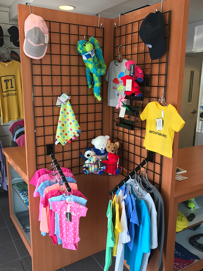 kids clothing items on our back wall