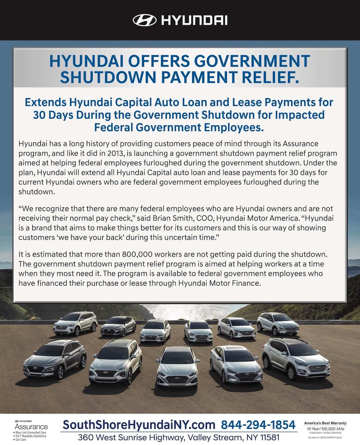 hyundai government shutdown payment relief