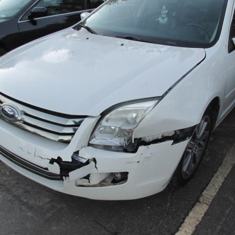 white ford fusion that hit a deer before picture