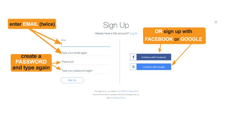 Wix website builder sign up page