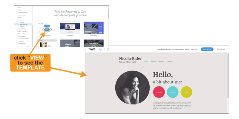 Wix template preview allows you to review a template before choosing an option.