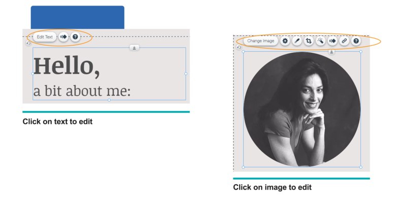 Customize your content or images by clicking on the existing elements.