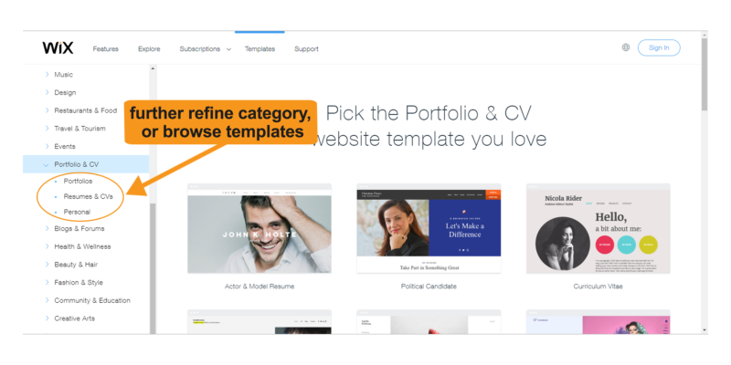 Pick the portfolio and CV website template that works best for you.