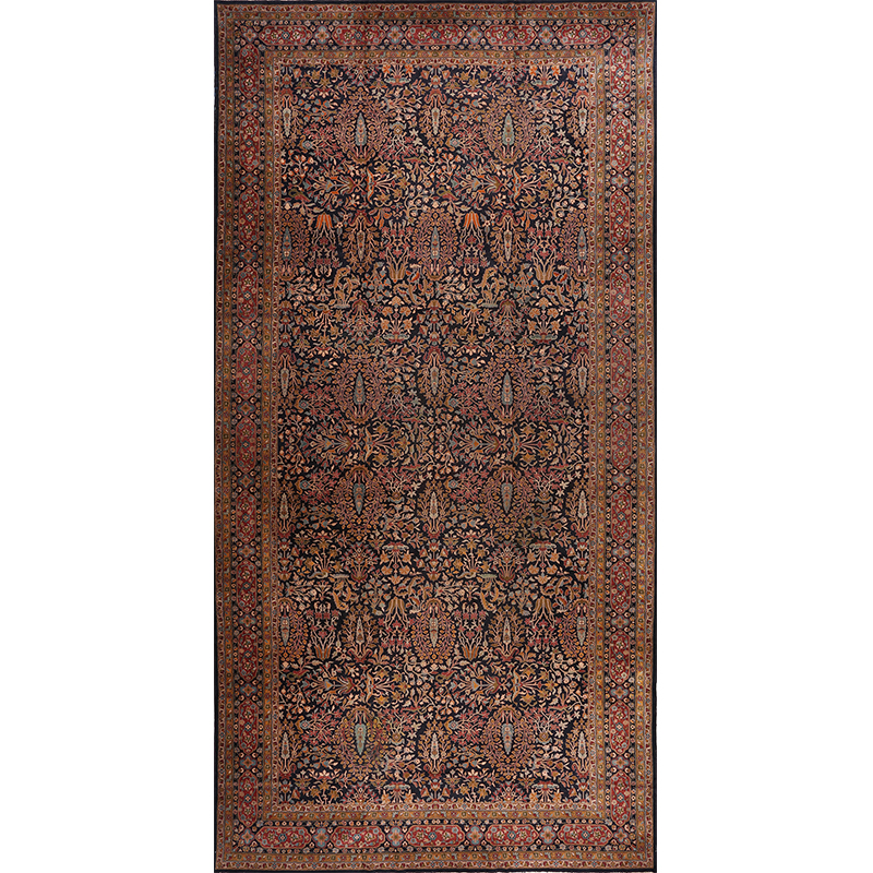 A104302 - Antique Hand-woven Indian Agra Rug 10.2 x 20.5