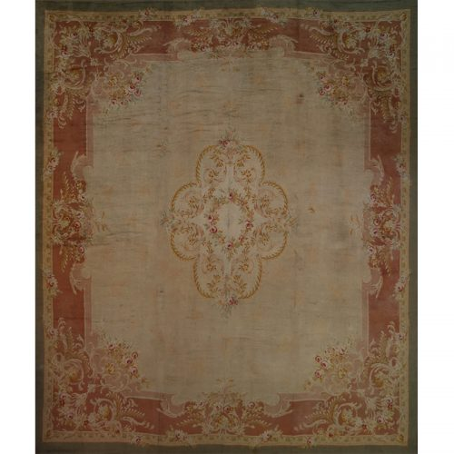 108284 - Antique Hand-woven French Savonnerie Rug 16.2 x 19.1