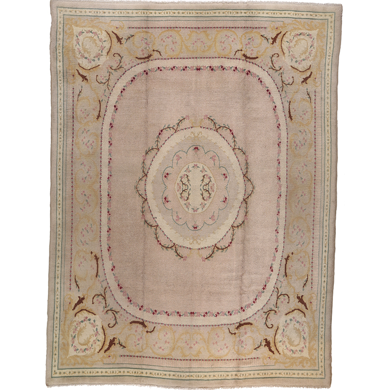 Antique French Savonnerie Area Rug 10.9x13.8 - B100206