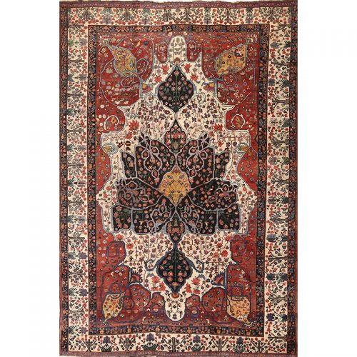 Antique Hand-woven Persian Bakhtiari Rug 10.3 x 15.5