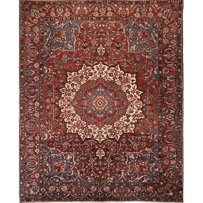 Antique Hand-woven Persian Bakhtiari Rug 11.3 x 14.4