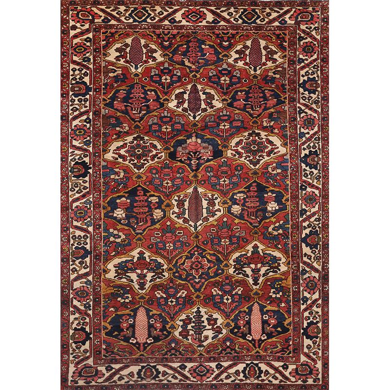 Persian Hand Woven Bakhtiari Style Wool Area Rug Ebth: Traditional Old Hand-woven Persian Bakhtiari Rug